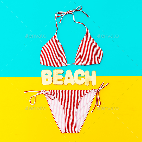 Stylish Bikini and accessories. Beach fashion style - Stock Photo - Images