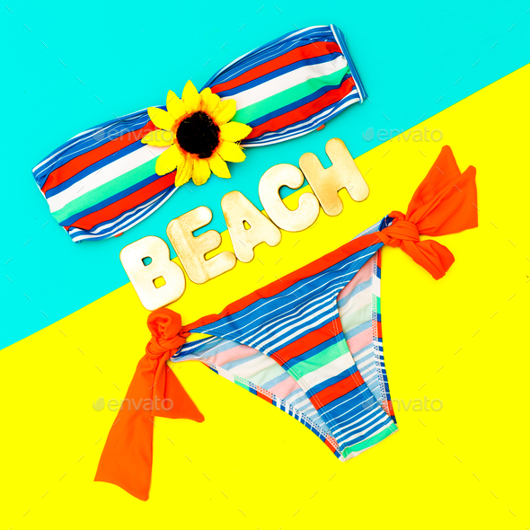 Fashionable swimsuit and accessories. Beach fashion Ladys style - Stock Photo - Images