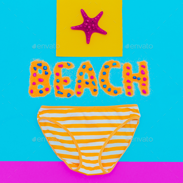 Beachwear Panties striped Summer time. Minimal art - Stock Photo - Images