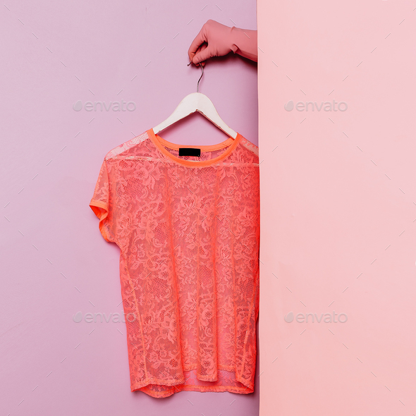 Stylish summer clothes. Pink lace t-shirt. Minimal fashion. Ward - Stock Photo - Images