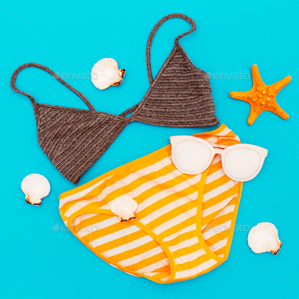 Swimsuit. Vacation. Summer. Minimal style beach - Stock Photo - Images