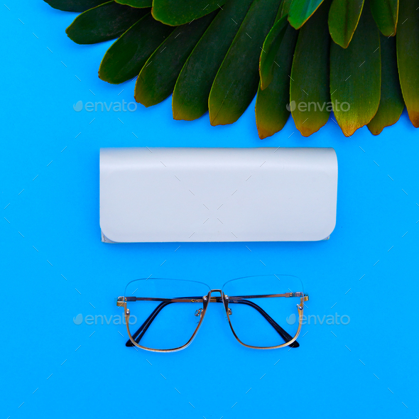 Fashion Glasses. Stylish Eyewear accessory. Flat lay Minimal - Stock Photo - Images