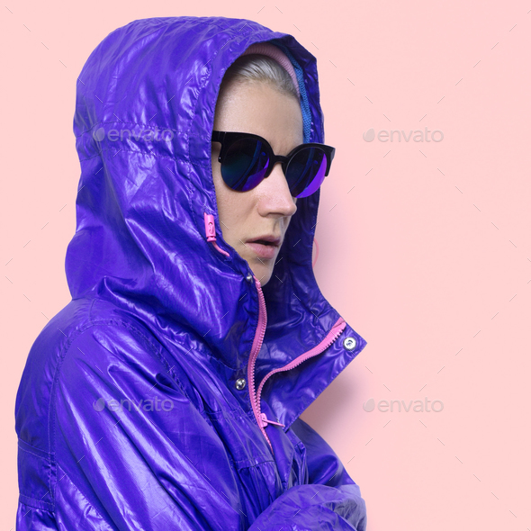 Hipster fashion model Minimal Hood Outfit - Stock Photo - Images