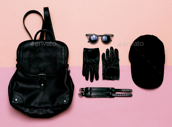 clothes top view Black Women's Accessories Gloves, sunglasses, b - Stock Photo - Images