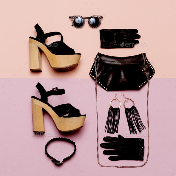 Stylish Lady Outfit Black Rock style accessories, fashionable bl - Stock Photo - Images