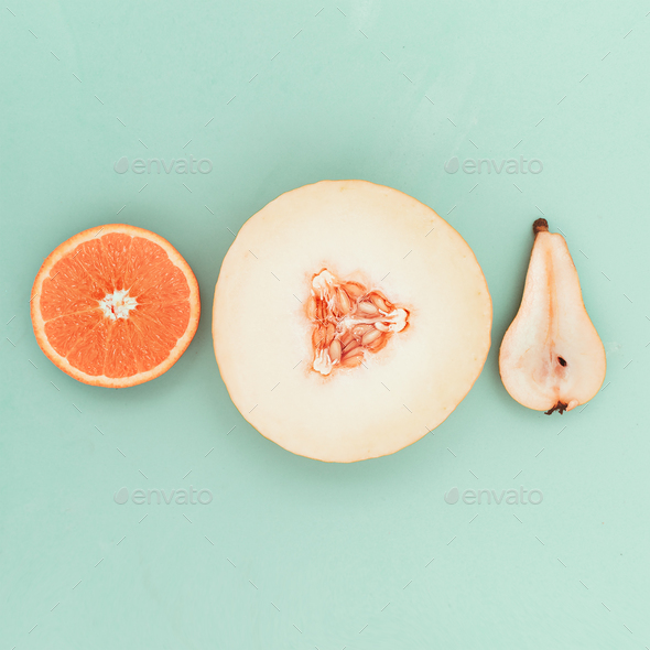 Pear orange melon. Fresh tropical ideas. Minimal Creative art - Stock Photo - Images