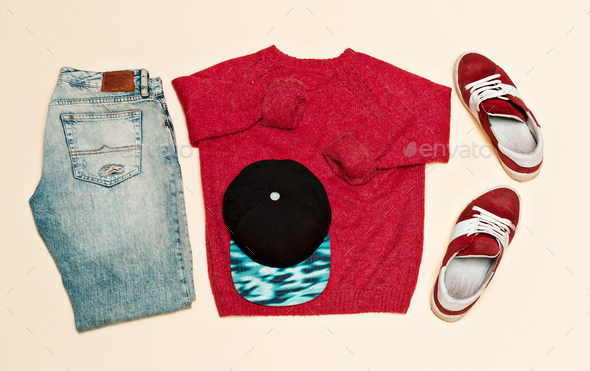 Urban clothing set. Sweater jeans shoes cap Skateboard fashion s - Stock Photo - Images