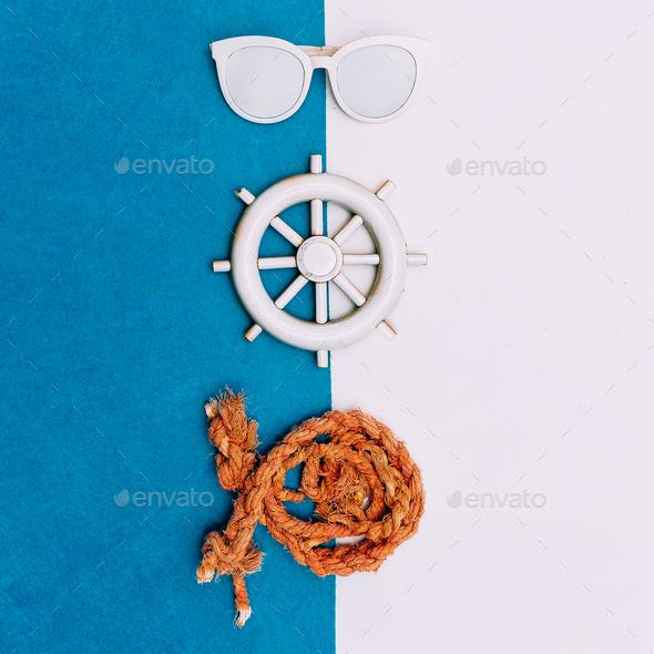 Sea set. Vacation. Minimal art - Stock Photo - Images