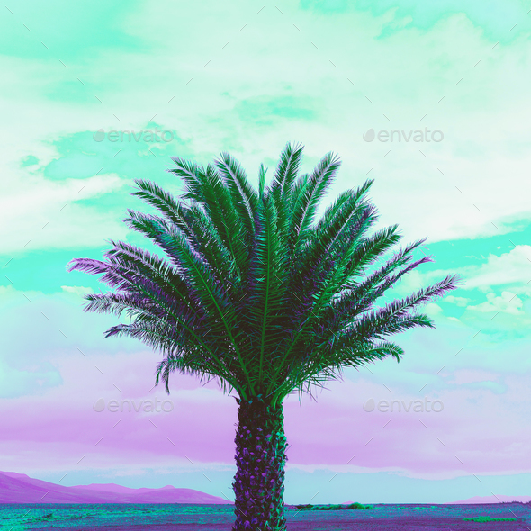 Palma Purple dreams Minimal landscape art - Stock Photo - Images
