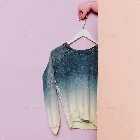 Stylish clothes. Fashionable Sweater. Denim cotton. wardrobe ide - Stock Photo - Images