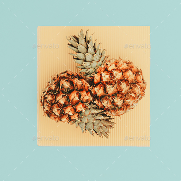 Two Mini Pineapple Minimal Art Design - Stock Photo - Images