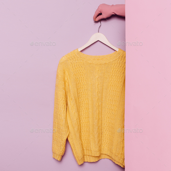 Stylish clothes. Yellow sweater. Spring Autumn. wardrobe ideas t - Stock Photo - Images