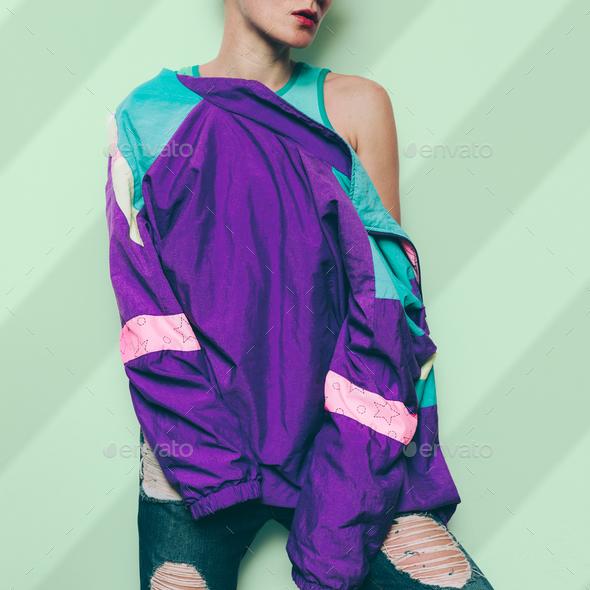 Vintage Windbreaker Retro Rave Clothing Style urban - Stock Photo - Images