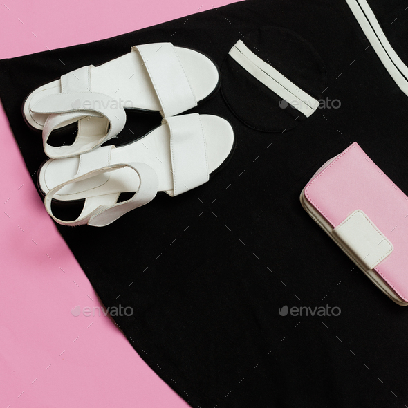 Vintage Boutique for Ladies. Retro Summer. Sandals Outfit and Bl - Stock Photo - Images