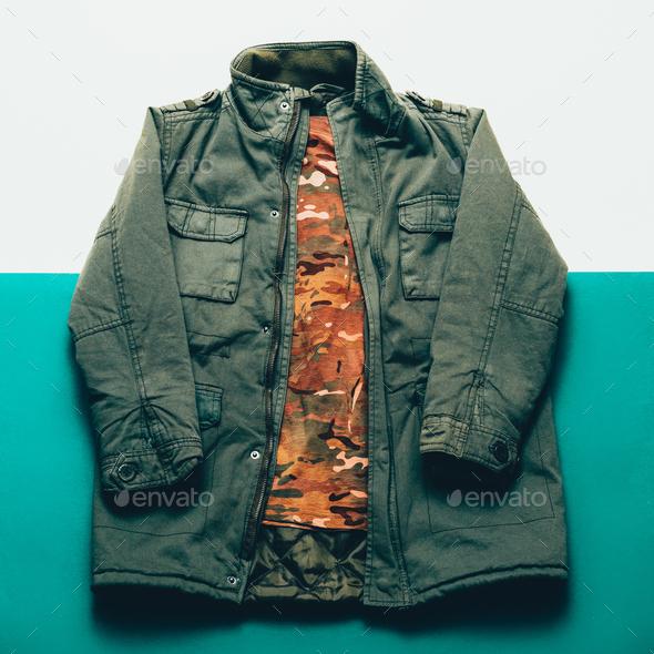 Clothing Set Military style minimalist fashion - Stock Photo - Images