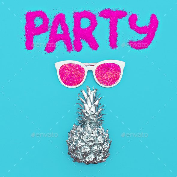Party Beach Sunglasses Silver Pineapple Minimal art - Stock Photo - Images