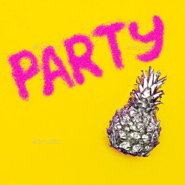 Beach party Tropical pineapple Minimal art - Stock Photo - Images