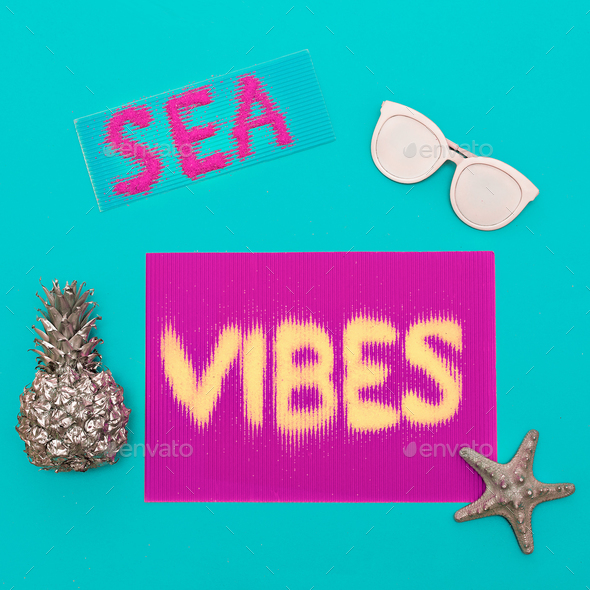 Beach and vacation. Ananas, sunglasses. sea vibes Minimal art de - Stock Photo - Images