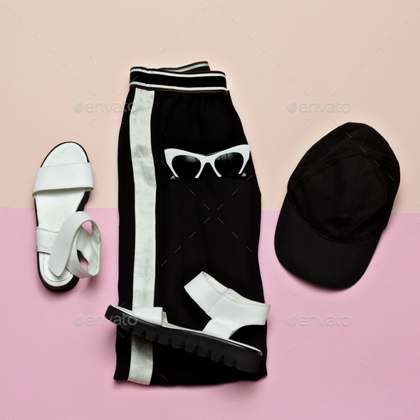 Fashion Outfit for women. Black stylish clothes. Sports Urban. M - Stock Photo - Images