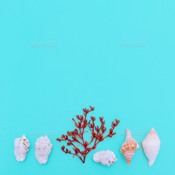 Underwater world set. Minimal art design - Stock Photo - Images