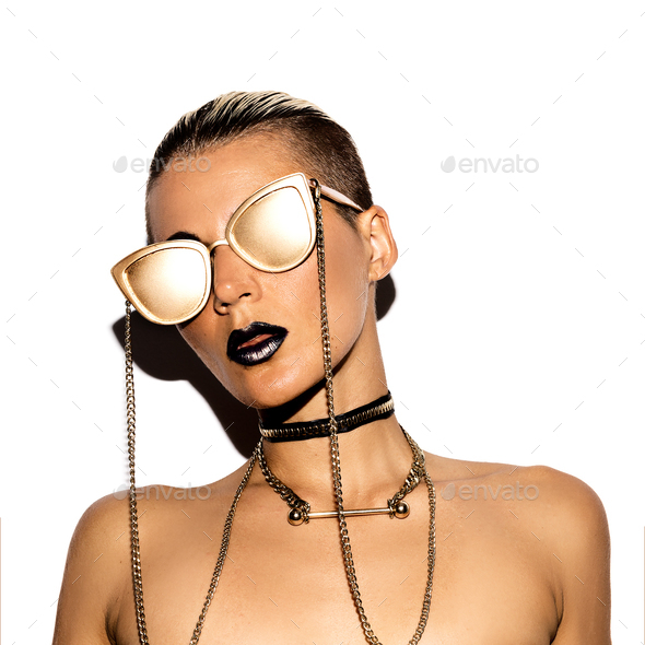 Fashion Model Swag Luxury style. Gold Party. Gold glasses. - Stock Photo - Images