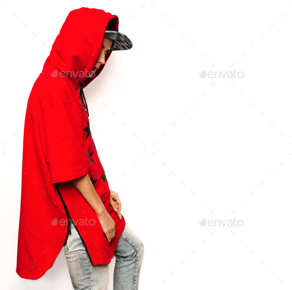 Bright Hip Hop Model Tomboy cap and stylish clothes Urban Style - Stock Photo - Images