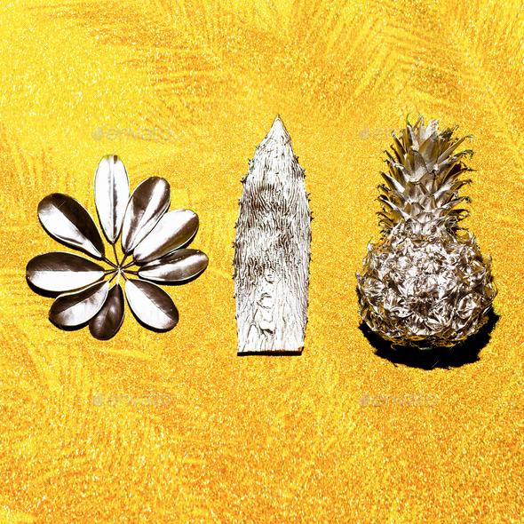 Tropical plants set Minimal art design - Stock Photo - Images
