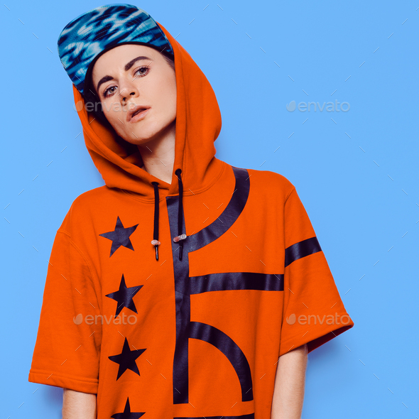 Hip Hop Style Girl fashion Urban Culture Outfit - Stock Photo - Images