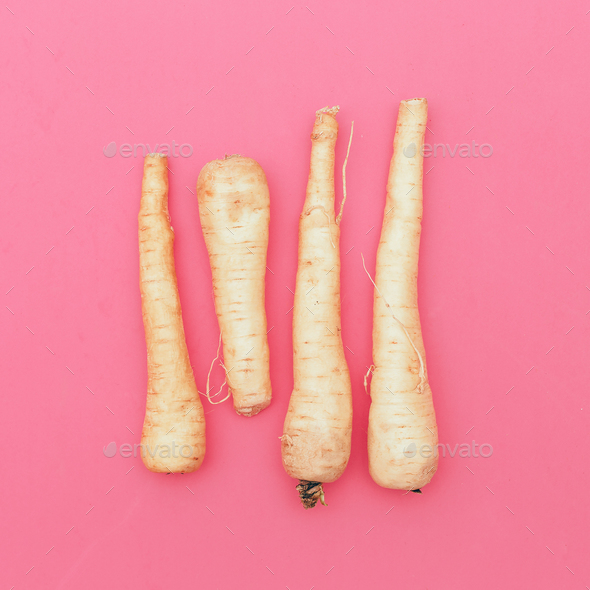 Fresh parsnip happy vegan style minimal - Stock Photo - Images