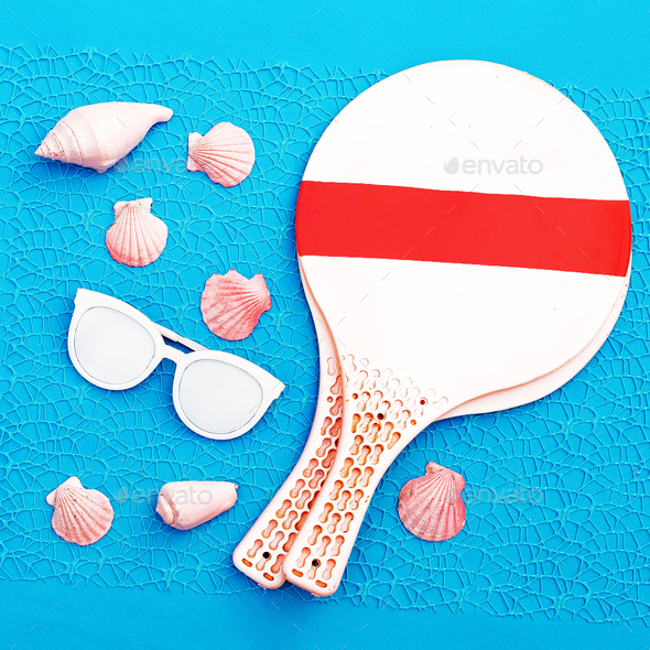 Beach Time. Beach badminton. Vacation set minimal - Stock Photo - Images