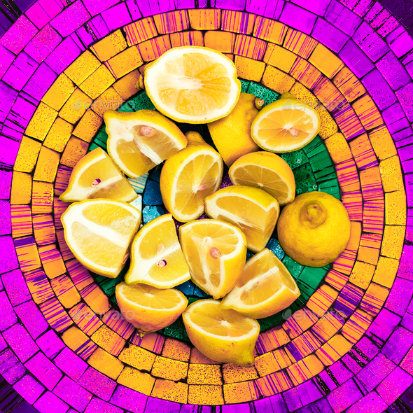 Lemons on a bright background. Creative food ideas - Stock Photo - Images