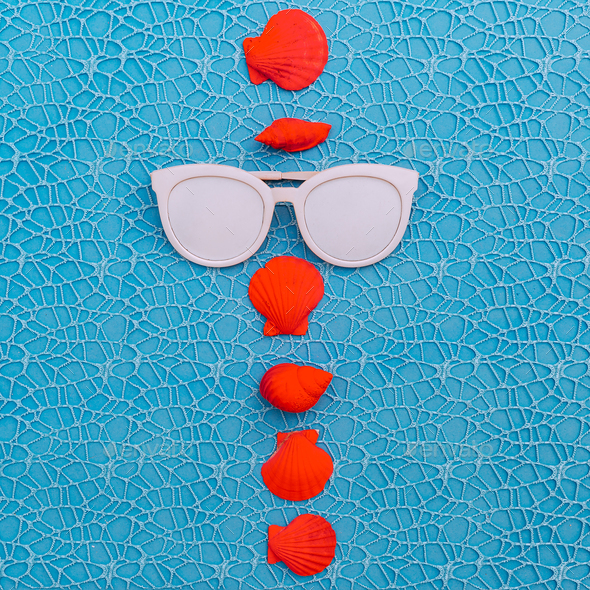 Sunglasses and pink seashells. Beach Fashion Art - Stock Photo - Images