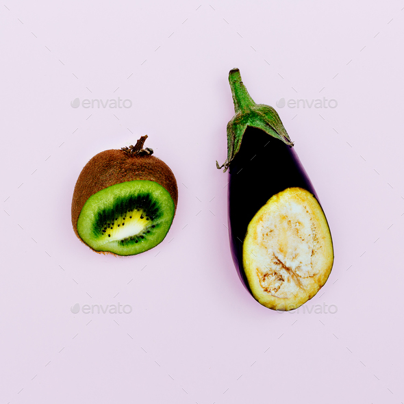 Eggplant and kiwi. Mix Fashion minimal art - Stock Photo - Images