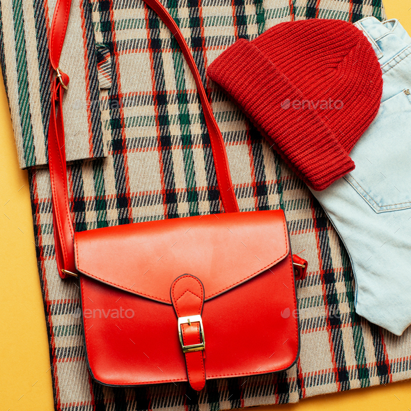 Checkered coat and red accessories. Fashion Trendy Urban Style - Stock Photo - Images