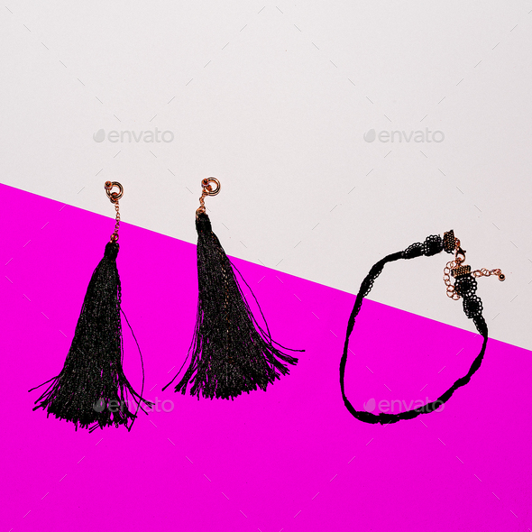 Set of stylish jewelry. Earrings and Choker. Top view - Stock Photo - Images
