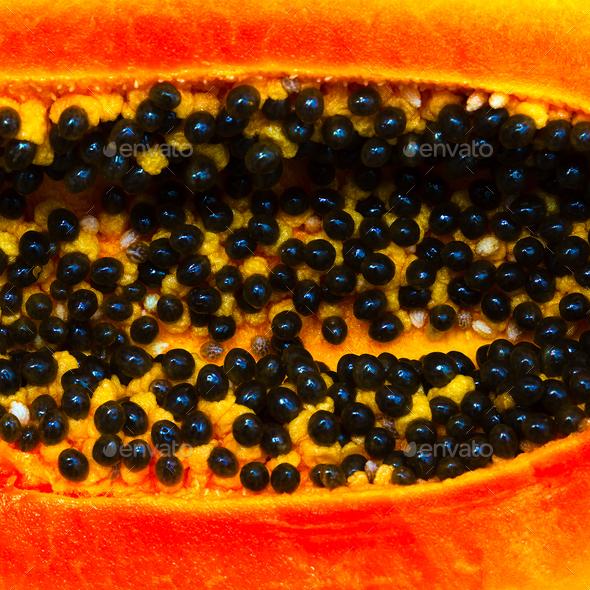 Papaya Closeup Minimal food art - Stock Photo - Images