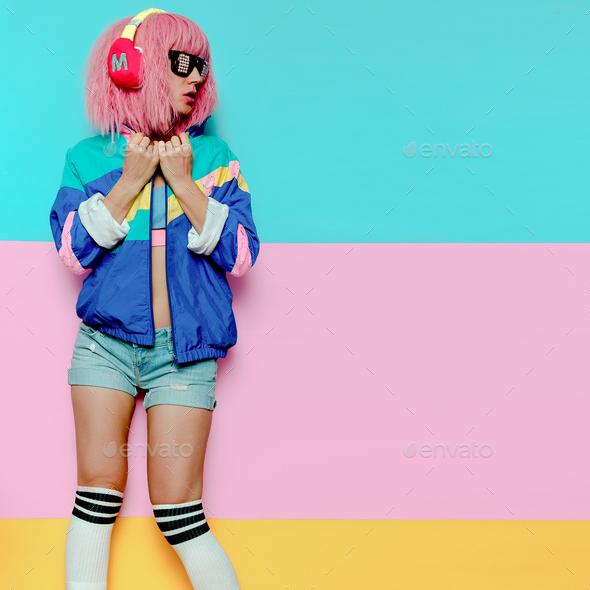 Stylish Girl DJ. Musical vibrations. Clubbing Minimal pop art - Stock Photo - Images