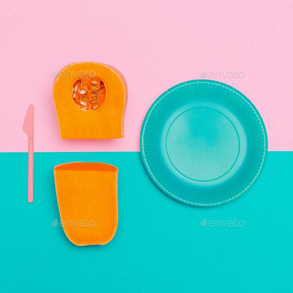 Pumpkin Soup Vegan Minimal art style - Stock Photo - Images