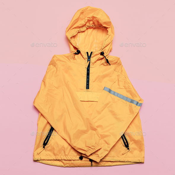 Fashionable Orange Jacket, Urban style. Street Outfit Hi Rains S - Stock Photo - Images