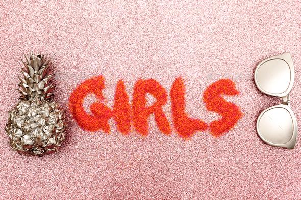 Stylish beach set for Girls  Minimal design fashion - Stock Photo - Images