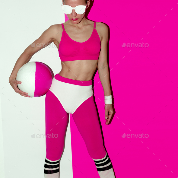 Fitness training vibration. Football. Pop art style. Fashion gir - Stock Photo - Images