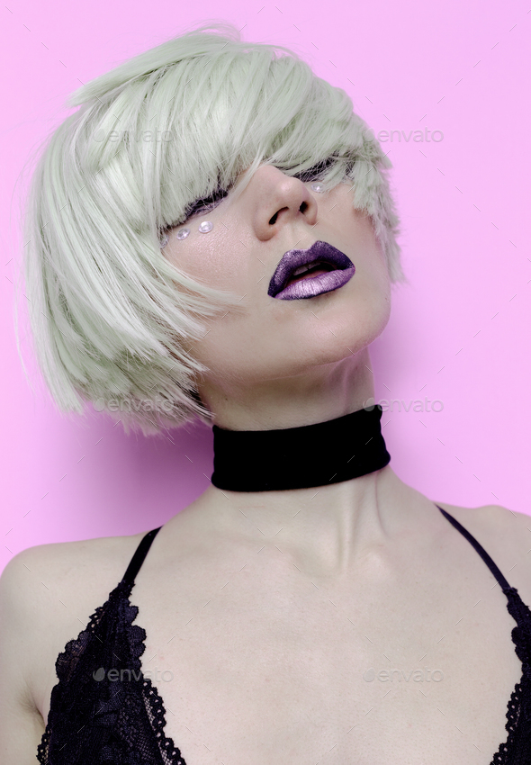 Sensual Sexy Blonde Black Lips stylish haircut Fashion Velvet Ch - Stock Photo - Images
