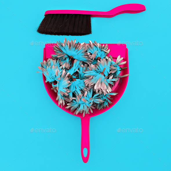 Home stuff. Scoop Brush and Garbage Flowers. Minimal - Stock Photo - Images