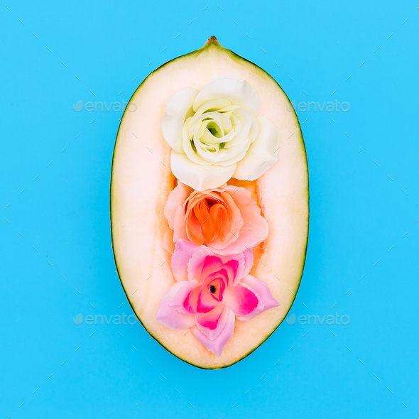 Melon and Roses. Minimal art style - Stock Photo - Images