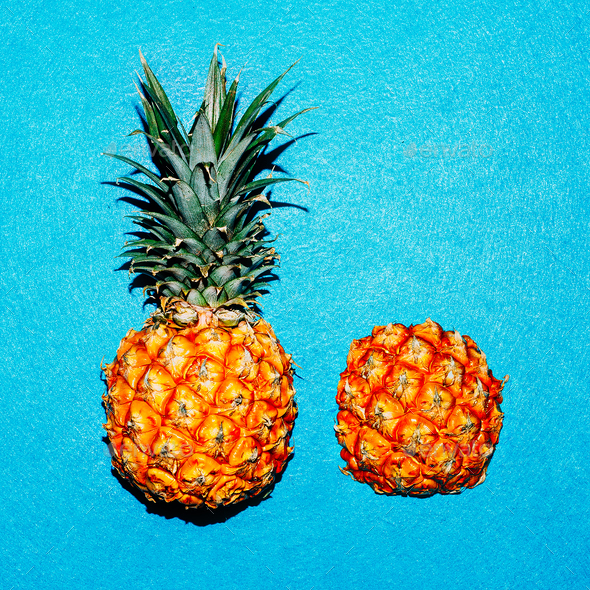 Tropical style. Minimal Pineapple Fresh - Stock Photo - Images
