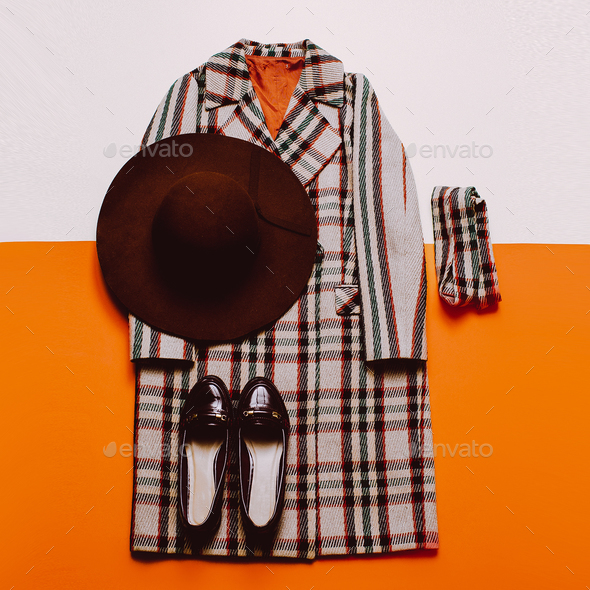 checkered Coat and accessories. Fashionable hat. Fashion Vintage - Stock Photo - Images