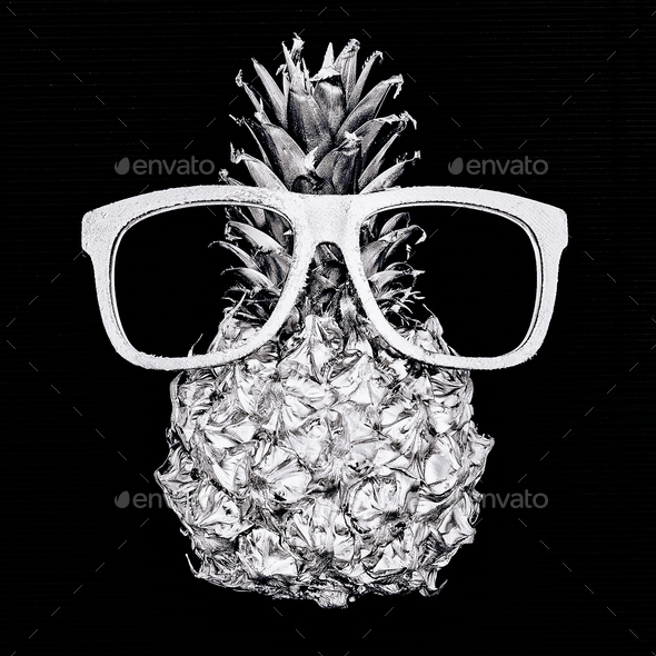 Silver fashion pineapple and glasses. Minimal style - Stock Photo - Images