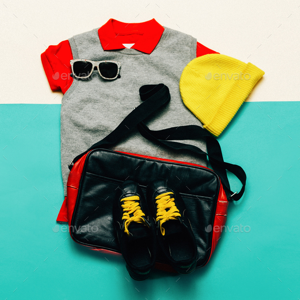 Urban sports style fashion clothing and accessories. Handbags, c - Stock Photo - Images