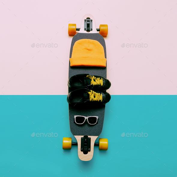 Skateboard, Sunglasses, Cap, Sneakers. Love Urban fashion. Minim - Stock Photo - Images