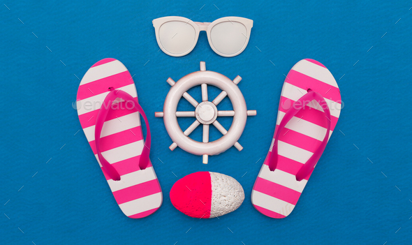 Beach style. Flip-flops and sunglasses. Minimal art - Stock Photo - Images
